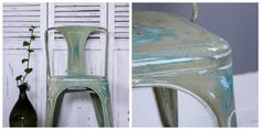 He started by painting the entire surface in Provence, and then, once dry, he applied a second coat of Chalk Paint® in Chateau Grey – a traditional greyed green – evocative of fine old French furniture. He then sanded the paint back in varying amounts, sometimes right back to the original glossy white, taking care to highlight the distinctive shape of the legs and the back. To finish the piece, Simon applied a coat of Clear Soft Chalk Paint® Wax. This once glossy metal chair now looks aged…
