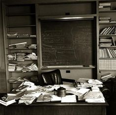 Albert Einstein's office photographed on the day of his death.