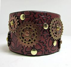 Steampunk leather bracelet , red brown leather cuff with copper and brass gears, sprockets, rivets tooled