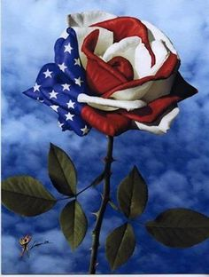 Red white and blue rose art for memorial day. I Love America, God Bless America, America 2, Happy 4 Of July, 4th Of July, September 11, Patriotic Pictures, Patriotic Quotes, Patriotic Tattoos