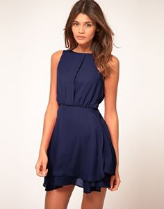 Buy ASOS Sleeveless Mini Dress With Double Skirt at ASOS. With free delivery and return options (Ts&Cs apply), online shopping has never been so easy. Get the latest trends with ASOS now. Vestidos Color Azul, Cute Dresses, Casual Dresses, Marine Uniform, Costume, Looks Style, Mode Inspiration, Dress Me Up, Pink Dress