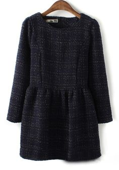 Navy Blue Plaid Above Knee Wrap Wool Dress