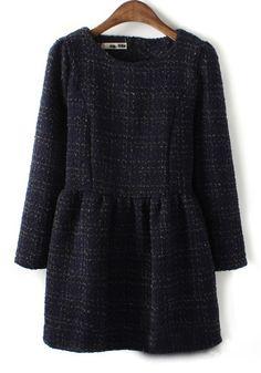 Navy Blue Plaid Above Knee Wrap Wool Dress