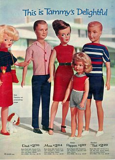 Catalog page showing the Tammy's Delightful Family concept (from left: Tammy, Dad, Mom, Sister Pepper, and Brother Ted dolls), from that year's Sears Christmas Wish Book, United States, 1963, published by Sears, Roebuck & Co. Although Pedigree Toys in the UK would license the concept and molds for Tammy for their 1963-64 Sindy doll, the family concept would be largely abandoned and these molds would not be replicated in any of the foreign versions of Tammy created under license from Ideal.