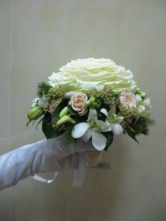 Unique Ivory Roses Glamelia Wedding Bouquet + Pastel Peach Spray Roses, White Dendrobium Orchids, Greenery/Foliage