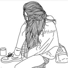Image about girl in Zeichnungen✏ by PUPSI on We Heart It Tumblr Girl Drawing, Art Tumblr, Tumblr Drawings, Tumblr Hipster, Hipster Girls, Tumblr Girls, Drawing Girls, Tumblr Outline, Outline Art
