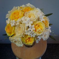 Beautiful Yellow and Cream Garden Roses with Stephanotis - Brides Bouquet