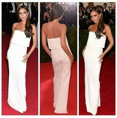 Classy and timeless Victoria Beckham dress. You can replace the color of this gown to your favorite. Victoria Beckham Style, Nice Dresses, Formal Dresses, Color Inspiration, Christian Louboutin, Celebrity Style, Strapless Dress, Classy, Glamour