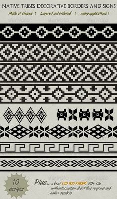 Buy Decorative Native Tribe Borders, Lines & Symbols by bluedesign on GraphicRiver. This is a set of 10 differents regional and tribe decoratives ornaments designs that you can use for borders, lines o. Native Symbols, Native American Symbols, Native American Design, Native Design, Native Art, American Indians, Mayan Symbols, Viking Symbols, Egyptian Symbols