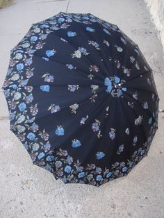 Vintage 1960s Umbrella Black with Metallic Flowers by bycinbyhand,