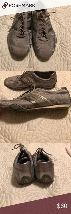 Coach jayme sneakers! In great condition! In great condition! Very comfortable coach sneakers! Only noticeable wear is on the very bottom and a little wear on the top of toe area! Very versatile and cute shoes! Coach Shoes Sneakers