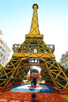 Eiffel Tower made of oranges and lemons at the Lemon Festival in Menton, French Riviera