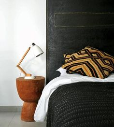 headboard, side table and lamp