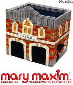 Make this fire hall using plastic canvas and yarn.