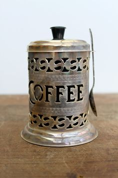 Vintage English Silver Plate Pierced Coffee Canister.
