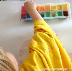 Ice cube painting - Peinture aux glacons