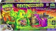 Monster 500 Toxic Terror Trap Playset.  Rev your engine and get ready to take on the toxic terrain with the Freak Force Monster 500 Toxic Terror Trap Play Set. Speed down the twisting track, blast through the gate, topple the toxic monster and avoid being eaten by the mutant gator.