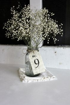 15 antique white table numbers . rustic shabby chic wedding . event tags . burlap table number centerpieces . burlap table numbers on Etsy, $38.00