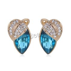 Crystal Earrings, Zinc Alloy, with Crystal, stainless steel post pin, Leaf, gold color plated, with rhinestone, lead & cadmium free, 18mm,china wholesale jewelry beads