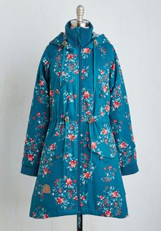 Alps and About Coat in Blooms. Your cold weather wandering has taken you to some incredible places, and in this deep teal Blutsgeschwister coat, the list of exotic locales only increases! #blue #modcloth