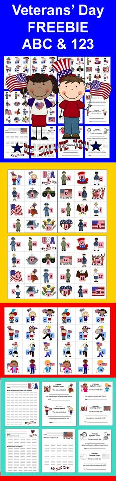 FREEBIE - Veterans' Day Patriotic Literacy Center Activities –Matching Upper & Lower Case Letters  &  Counting to 20 & Award Certificates  14 Page Download - 4 Ways to Play  - Patriotic kids graphics with the lower case letters of the alphabet match up to other patriotic graphics with the upper case letters.   Numbers 1-20 to arrange in order as well.  Optional recording sheets for students to write the alphabet and the numbers.   6 Different Patriotic Award Certificates at various levels.