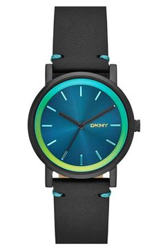 Women's DKNY 'Soho' Holograph Leather Strap Watch