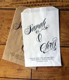 Wedding Favor Bags, Wedding Menu bags, PERSONALIZED bags, Candy Buffet bags 5 x…