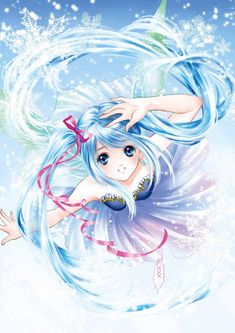 Ice rink princess with long blue hair in pigtails, turquoise blue eyes, pink ribbons, & white ice skates by manga artist Shiitake.