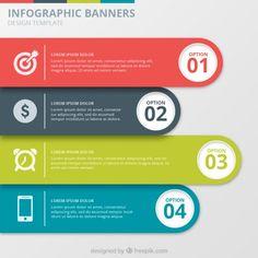 Coleção de Infographic Banners Vetor grátis