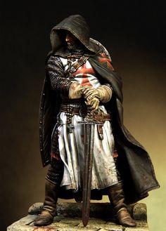 Nuevo sin montar 1/18 90mm caballeros templarios warrior con espada 90mm resina kit diy kits de juguetes sin pintar