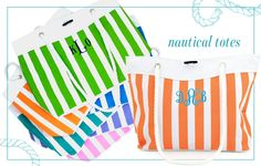 "Monogrammed nautical striped tote with interior mesh pocket, toggle closure.  Lime, tangerine, blue, turquoise, lavender or pink 19""w x 13.5"" h $30 - Call us at Coqui Design to order! 414-369-2589"
