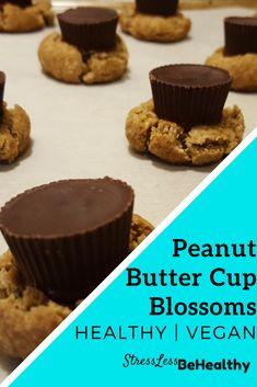 Try these filling and healthy vegan peanut butter cup blossoms to make your and your families Christmas even better (and healthier) this year Healthy Vegan Desserts, Healthy Kids, Healthy Habits, Vegan Food, Healthy Eating, Healthy Recipes, Chocolate Christmas Cookies, Best Christmas Cookies, Vegan Peanut Butter