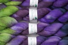 "Purple and green are two of my favorite colors, and they are here together in my ""Meadow"" colorway in BFL wool."