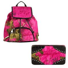 Realtree Camouflage Backpack & Wallet Combo (Pink)