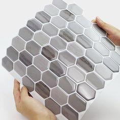 x PVC Peel & Stick Mosaic Tile in Mocha - ectliq. Stick On Tiles Bathroom, Mosaic Wall Tiles, Bathroom Floor Tiles, Tile Floor, Bathroom Gray, Bathroom Bath, Backsplash Tile, Simple Bathroom, Peal And Stick Backsplash