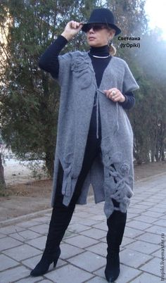 """Кофты и свитера ручной работы. Ярмарка Мастеров - ручная работа Пальто- кардиган  вязаное """" Графит"""". Handmade."""
