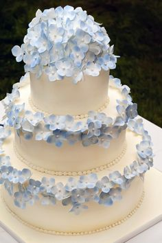 Beautiful blue Hydrangea icing flowers....Lovely wedding cake!  This would be so much prettier on a silver cake stand and hydrangeas around  the base