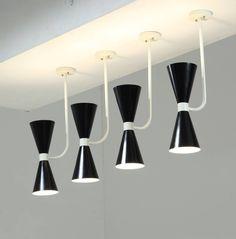 Four Italian Metal Diabolo Ceiling Lamps, Manner of Stilnovo, 1950s 2