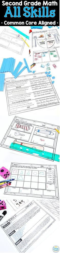 Second grade math teachers, THIS is the bundle for you to save you time and make your math instruction fun and meaningful for your students with very little prep for you! No need to pull activities from difference sources each week, this bundle has everything you need, all in one place, for a year of second grade math instruction! Addition, subtraction, geometry, base ten, measurement, time, money- this pack has it all! Measurement Activities, Teaching Activities, Classroom Activities, Teaching Resources, Teaching Ideas, Primary Classroom, Back To School Organization, Teacher Organization, Teacher Hacks