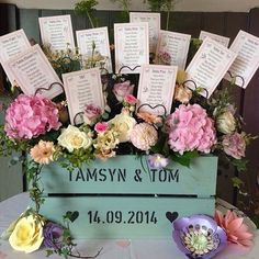 One year ago today styling at Priston Mill.loved this crate table plan from & Wedding Menu Cards, Wedding Signs, Diy Wedding, Wedding Ideas, Wedding Stuff, Seating Plan Wedding, Wedding Table, Flower Wall Wedding, Wedding Flowers