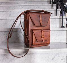 Купить Сумка мужская из натуральной кожи - коричневый, однотонный, сумка ручной работы