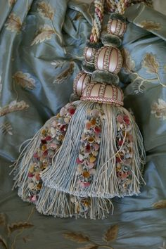 Beautiful tassel and fabric - I hang tassels from lamps, doorknobs, etc.