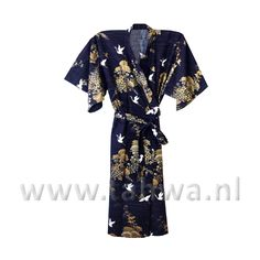 Japanese Yukata Long Crane Blue