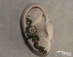 STEAMPUNK PRINCESS  bronze and green ear cuff by bodaszilvia, $19.50