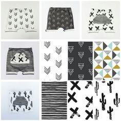 """""""Coolest mix and match harem shorts ever...Pick a basic harem short and have a mixed patch stitched to it ♥ #asherandcrew #haremshorts #monochrome…"""""""