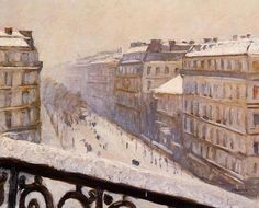 Gustave Caillebotte, Boulevard Haussmann, effet de neige on ArtStack #gustave-caillebotte #art