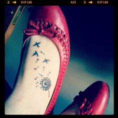 Cute Dandelion Tattoos On Foot