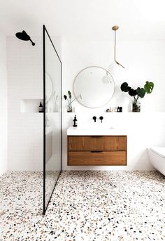 Decor of the day: modern bathroom with granite flooring - inspiration for a .- Decor of the day: modern bathroom with granilite flooring – inspiration for a modern bathroom style – Granite Flooring, Terrazzo Flooring, Wood Flooring, Wet Room Flooring, Modern Bathroom Decor, Bathroom Interior Design, Minimal Bathroom, Scandinavian Bathroom, Modern Bathrooms