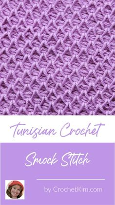 Tunisian Smock Stitch Crochet Stitch Pattern - Free Crochet Patterns from CrochetKim Tunisian Crochet Patterns, Basic Crochet Stitches, Knitting Stitches, Knitting Patterns, Tunisian Crochet Blanket, Smocking Patterns, Sock Knitting, Knitting Tutorials, Knitting Machine