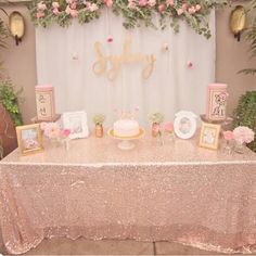 Pink White Lace Gold Sparkle Photobooth Backdrop Wedding